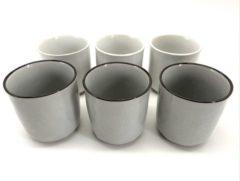 Grijze Merkloos / Sans marque Koffiekopjes - koffiemok - koffiebeker - set van 6 kopjes - 150ML - keramiek - hip en trendy