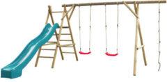 SwingKing Swing King speeltoestel hout met glijbaan Noortje 450cm - turquoise