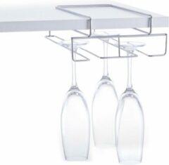 3x Zilver wijn/champagneglas houders voor aan plank voor 4 glazen 28 cm - Zeller - Keukenbenodigdheden - Woonaccessoires/decoratie - Wijnglashouder/champagneglashouder voor aan een plank - Rek/houder voor wijnglazen