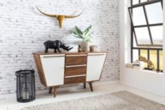 Wohnling Sideboard AGRA 140 x 80 x 42 cm Massiv-Holz Sheesham Natur Anrichte Landhaus-Stil Highboard mit Schubladen & Türen Flur Schrank Kommode