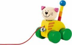 Selecta Spielzeug Selecta Trekfiguur Kat Tinka 12 Cm Hout Geel/groen