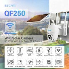 Witte Escam Beveiligingscamera buiten met zonnepaneel   Wifi & App   Full HD   Draadloos   Night Vision   Pan/Tilt