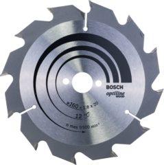 Cirkelzaagblad Optiline Wood, 160 x 20/16 x 1,8 mm, 12 Bosch Accessories 2608641170 Diameter:160 mm Aantal tanden:12 Dikte:1.8 mm