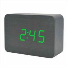 Zwarte ALOALO Houten Digitale Klok - Multifunctioneel - USB- Batterijen - Groene led - 10 CM
