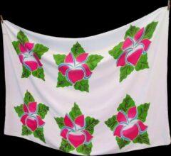 Blauwe Merkloos / Sans marque Witte Batik Sarong Tropische Bloemen Fuchsia-roze Pareo Hamamdoek StrandLaken Omslagdoek Wikkel-Jurk Wikkel-rok Beste Kwaliteit Rayon Viscose 115 * 165 cm