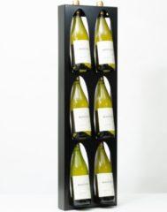 Ferro Duro - Wijnrek voor aan de muur - 6 flessen - zwart - flessenrek