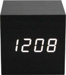 Premium Commerce Luxe Digitale Wekker - Slaapkamer - Houtlook - Cube - Modern - Zwart