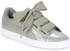 Grijze Lage Sneakers Puma BASKET HEART PATENT W'S