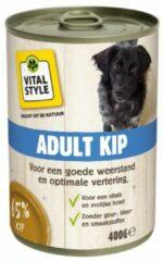 6x VITALstyle Hondenvoer Blik Kip 400 gr