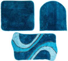 """Bagnola Badematten """"Wave""""; 3tlg. Set - Größe 50x80cm Mit Ausschnitt, Blau"""
