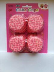 Het Borstelhuis vof Cupcake Vormpjes Papier - Muffin Vormpjes - 100 Stuks - Diameter 5 cm - Roze met Witte Hartjes