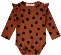 Your Wishes newborn baby romper stippenprint bruin/zwart