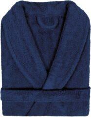Marineblauwe Pure Duplex Badjas Badstof Uni Pure Royal met Shawlkraag Donker Blauw col 2094 Maat M