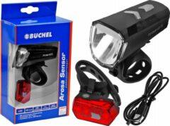 Zwarte Verlichtingsset Büchel Arosa Sensor 40 Lux USB oplaadbaar