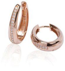 Best Basics Zilveren rosé-plated klapcreolen - ovaal 18 mm - zirkonia - ronde buis 107.0324.25