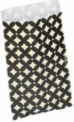 Beige Merkloos / Sans marque Fourniturenzakjes of Cadeauzakjes papier - 12 x 19 cm - papieren kadozakje - zwart met creme ruitje - 20 zakjes