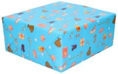 Merkloos / Sans marque XL Sinterklaas kadopapier print lichtblauw 2,5 x 0,7 meter op rol 70 gram - Luxe papier kwaliteit cadeaupapier/inpakpapier - Sint en Piet