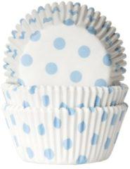 Blauwe House of Marie Cupcake Vormpjes Stip Wit/Baby Blauw - pk/50