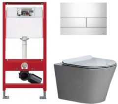 Douche Concurrent Tece Toiletset - Inbouw WC Hangtoilet wandcloset - Saturna Flatline Tece Square Glans Wit