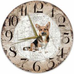 Bruine Creatief Art Houten Klok - 30cm - Hond - Welsh Corgi Cardigan