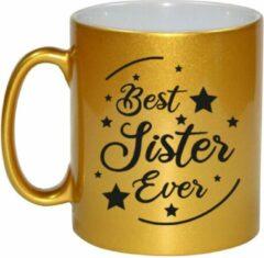 Bellatio Decorations Best Sister Ever Cadeau Koffiemok / Theebeker - Goudkleurig - 330 Ml - Verjaardag / Bedankje - Kado Voor Zus / Zusje