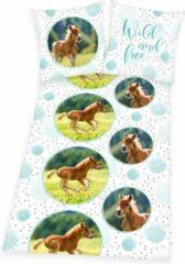 Blauwe Herding Paarden dekbedovertrek Veulen , 135x200cm, meisjes dekbed slaapkamer , Renforce katoen.