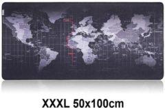 Muismat Gaming XXL 100x50cm Wereldkaart | bureau onderlegger XXXL | Gaming Muismat | Mousepad | Pro Muismat XXL | Anti-slip | Desktop Mat | Computer Mat | Wereldkaart, zwart , merk Beactiff