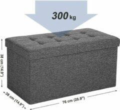 Songmics Opvouwbare zitbank, 80 liter, kistbank, half deksel, zijwaarts, inklapbaar, belastbaar tot 300 kg, 76 x 38 x 38 cm, donkergrijs,