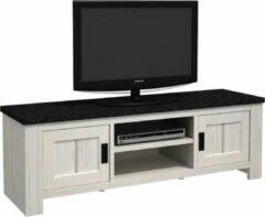 Antraciet-grijze BELFURNID Michigan tv kast in een decor van witte eik met een bovenblad in leisteen kleur