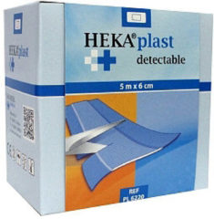 Blauwe Van Heek Medical HACCP pleister op rol 5 meter x 6 centimeter