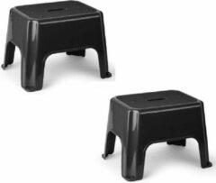Forte Plastics 2x stuks zwarte keukenkrukjes/opstapjes 40 x 30 x 28 cm - Keuken/badkamer/kasten opstap verhoging krukjes/opstapjes