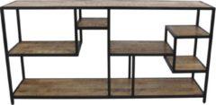 Antraciet-grijze Vtw Living Industriële Vakkenkast Van Mangohout - Vakkenkast - Mangohout - Roomdivider - Boekenkast - Industriële Kast - Kast - Kast Van Mangohout - Vakkenkast Industrieel - Industrieel - Landelijk - Interieur - 80 cm