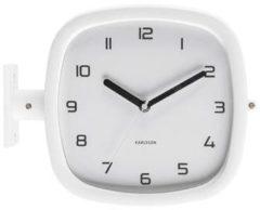 Karlsson Wandklokken Wall clock Doubler rubberized white Wit