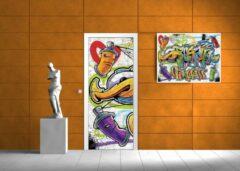 Paarse Fotobehangart Deursticker Muursticker Graffiti   Paars   91x211cm
