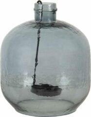 Clayre & Eef Theelichthouder 6GL3041BL Ø 20*18 cm Blauw Glas Rond Waxinelichthouder Windlichthouder