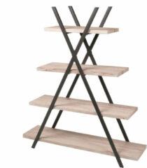 Bruine Gebor - Trendy Piramidestelling Met 4 Planken - Industrieel Design - Uniek - Interieur - Kast - Boekenkast