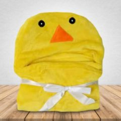 Gele Babydeken Eend - Wikkeldeken & Badcape - 100 x 70 cm - Kraamcadeau - Comfy Capes