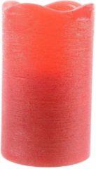 Merkloos / Sans marque Rode waskaars warm wit LED - 7,5 x 10 cm - LED kaars