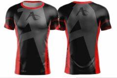 T-shirt Arawaza | dry-fit | zwart-rood | maat L