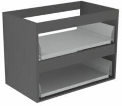 Antraciet-grijze Sub 16 wastafelonderkast met 2 lades zonder fronten 60 x 52 cm, antraciet