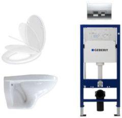 Witte Adema Classico toiletset bestaande uit inbouwreservoir en toiletpot, softclose toiletzitting en Delta 50 bedieningsplaat mat chroom SW8452