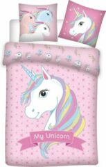 Roze Unicorn Dekbedovertrek - 140 x 200 cm - Polyester
