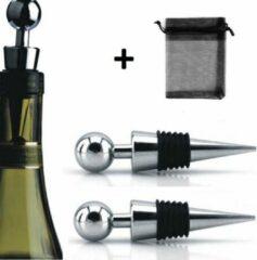Merkloos / Sans marque Wijnstoppers [rond] 2 stuks incl. gratis opbergzak - SDE-Commerce - wijn stopper - fles afsluiter - wijndop wijn dop - flesdop fles dop - wijnafsluiter - wijn afsluiter