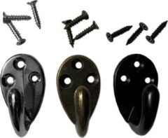 Wood, Tools & Deco Set van 6 metalen kledinghaakjes, hangers (kleur: brons)