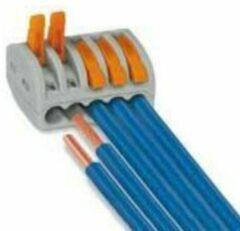 WAGO 222-415 Verbindingsklem Flexibel: 0.08-4 mm² Massief: 0.08-2.5 mm² Aantal polen: 5 10 stuks Grijs, Oranje