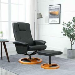 Merkloos / Sans marque Fauteuil Zwart MET Voetenbankje Kunstleer / Loungestoel / Lounge stoel / Relax stoel / Chill stoel / Lounge Bankje / Lounge Fauteil
