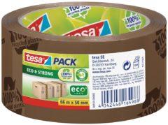 Zilveren Tesa® Tesapack Eco & Strong verpakkingstape, milieuvriendelijk, 66m:50mm, bruin, bedrukt