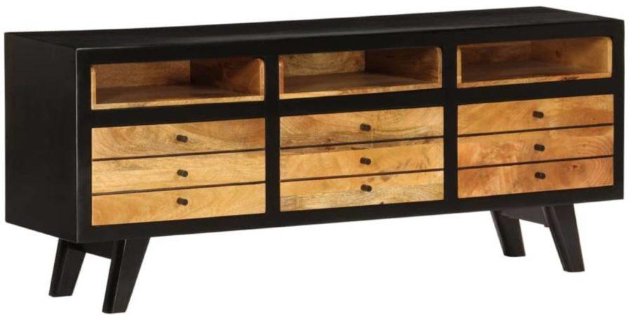 Afbeelding van Zwarte VidaXL Tv-meubel 120x30x50 cm massief mangohout