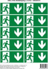 Groene Stickerkoning Pictogram sticker E002 A180 Nooduitgang Z rechts - 100x50mm 10 stickers op 1 vel