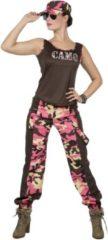 Wilbers Leger & Oorlog Kostuum | Paramilitair Camo Carmen Roze | Vrouw | Maat 40 | Carnaval kostuum | Verkleedkleding